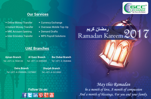 Dubai Ramadan Fasting Time Calendar 2017 - GCC Exchange