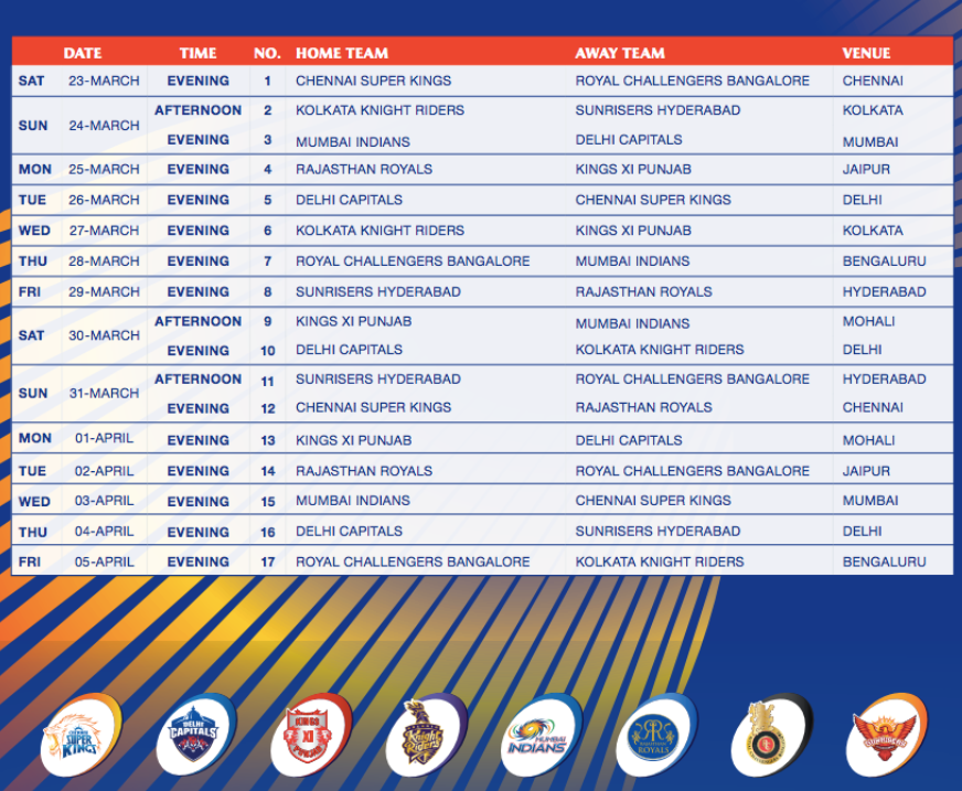 Ipl all match time table download